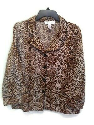 Oscar De La Renta Large Animal Print Satin W/cotton Lining Pajama Top - Lined Satin Pajamas