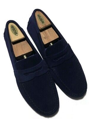 Zara Man Blue Men's Suede Apron Toe Penny Loafer Slip On's - Size 44 EU/11 US