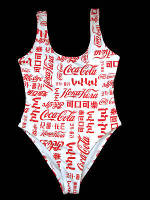 Coca-Cola One Piece Swimsuit Interlock Jersey Fully Lined Size Medium Languages