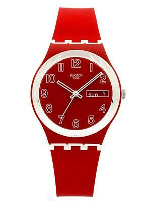 New Swiss Swatch Poppy Field Day Date Red/White Silicone Band Watch 34mm GW705