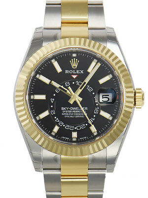 Rolex Sky Dweller 326933 Two Tone Steel & Yellow Gold Black Index Dial 42mm