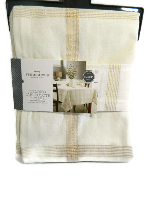 Threshold Tablecloth Round Cream Gold Plaid 70 In Christmas New