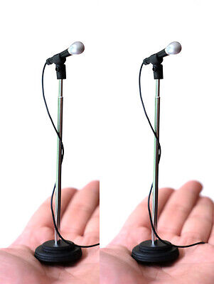 2 Adjustable Miniature Microphones to compliment Rock Star statue & stage  - Rock Star Microphone