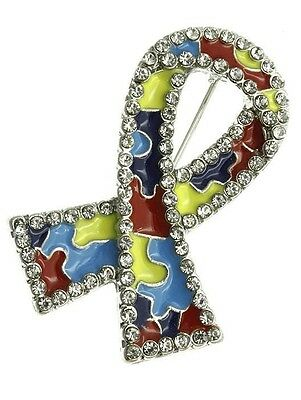 Blue Puzzle Piece Pin (Autism puzzle piece ribbon awareness brooch pin crystal 1 1/2
