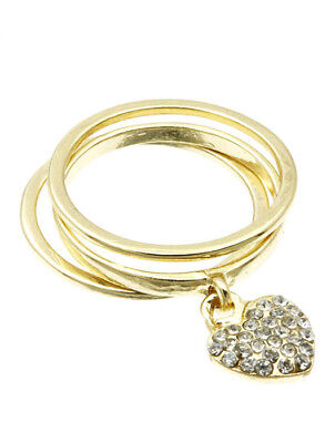 3 Piece Gold Metal Heart Charm Ring Size 7