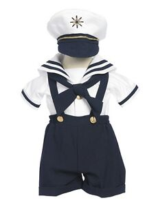 Sailor Outfit For Toddler And Babies , Sailor Suit in Baby Boys',Navy ,White Set