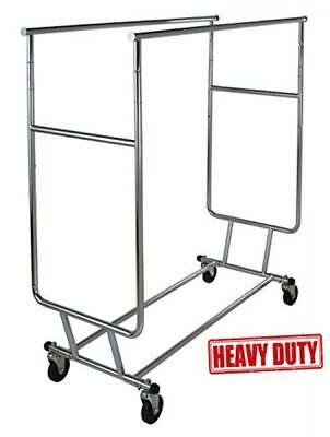 Only Garment Racks Commercial Grade Double Rail Rolling Clothing Rack Heavy Duty