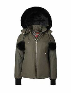 Moose Knuckles Beaver Ladies Jacket with Black Fur Olive Color