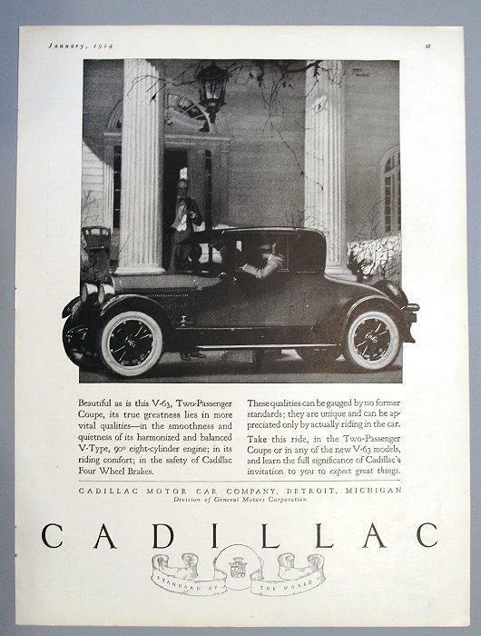 9x12 Original 1924 Cadillac Two Passenger V-63 Coupe Ad EXPECT GREAT THINGS