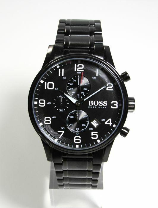 NEU Hugo Boss 1513180 Aeroliner Herren Armbanduhr Chronograph Edelstahl Schwarz