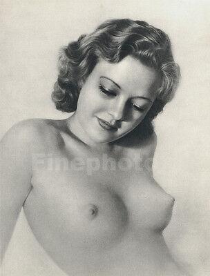 1936 Vintage Print SURREAL FEMALE NUDE Breasts Photography Art WILLIAM MORTENSEN