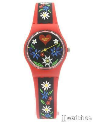 New Swatch Originals Roetli Red Silicone Petite Women Watch 25mm LR129 $70