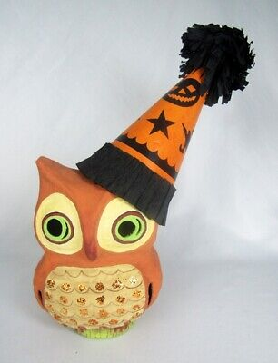 Bethany Lowe Retired Paper Mache Owl Wearing Witch Party Hat Lantern Figurine