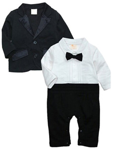 Baby Boys Tuxedo Wedding Romper and Jacket Formal Wear Suit