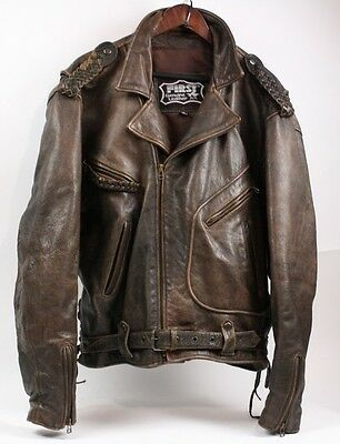 FIRST Genuine Thick Rugged Leather Brown Motorcycle Biker Western Jacket Men XL