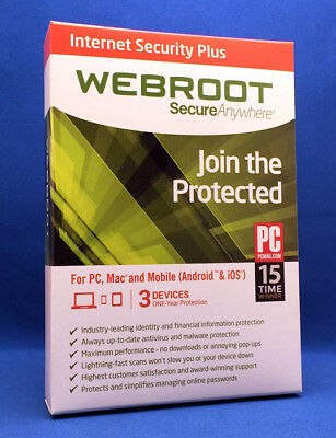 Webroot Internet Security Plus   3 Devices   1 Year   Instant 2018 Update