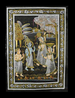 Hanging Wall Painting Mughal on Silk Art Scene de Life India 31x24cm C4 1201