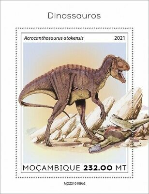 Mozambique 2021 MNH Dinosaurs Stamps Prehistoric Animals Acrocanthosaurus 1v S/S