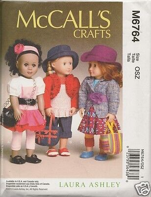 M6764  18 INCH DOLL CLOTHES NEW  SEWING PATTERN MCCALLS  6764