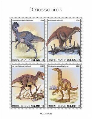 Mozambique 2021 MNH Dinosaurs Stamps Prehistoric Animals Fukuisaurus 4v M/S