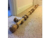 Wooden Curtain pole with finials, brackets and 10 rings