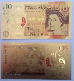 24k gold plated Jane Austen £10 note not Aa01 Austin new