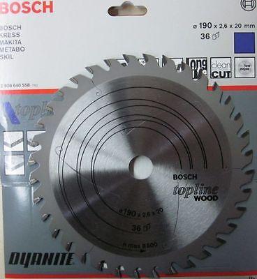 Bosch 2608640558 Kreissägeblatt Hartmetall 190x20/16x2,6mm 36 Zähne Wood