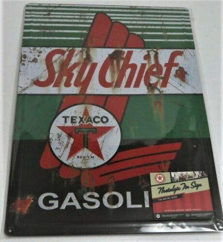 NEW TEXACO SKY CHIEF METAL SIGN 12 X 17