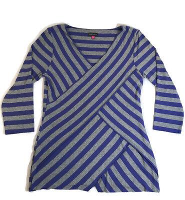 Striped Faux Wrap Shirt (Vince Camuto Striped Shirt Faux Wrap Stretch Gray Purple 3/4 Sleeves Medium)