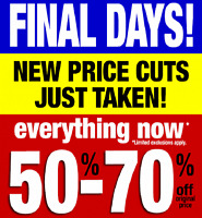 $ LARGEST IN WOODSTOCK $ HUGE CLEARANCE EVENT $ All MUST GO $