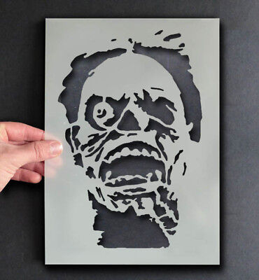 Zombie Halloween Face Paint (Halloween Stencil Zombie Face Scary decor craft paint any surface Ideal)