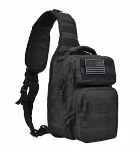 f5f7e66ab682 Tactical Sling MOLLE Military Backpack Rover Small Shoulder Bag for Unisex  Black
