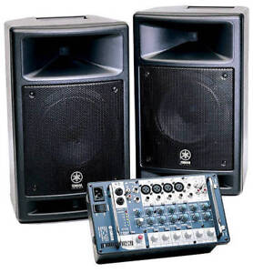 Yamaha Stagepas 300 Speakers and mixer
