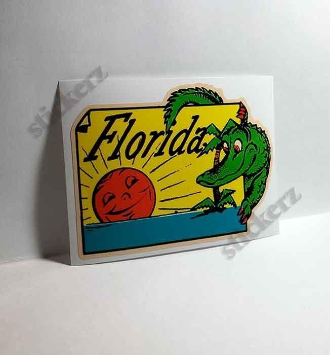 Florida Alligator Vintage Style Travel Decal / Vinyl  Sticker, Luggage Label