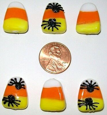 HALLOWEEN CANDY CORN/SPIDER LAMPWORK BEAD LOT-6 PIECES-SPIDERS ON 1 - Corn Spider
