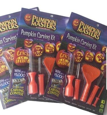 Lot of 3 Pumpkin Masters Carving Kit With Tools & Pattern Book Halloween Crafts](Patterns Carving Halloween Pumpkins)