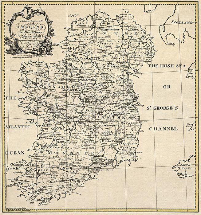 HUGE  OLD IRELAND IRISH MAP Genealogy Dundalk Tallaght Swords Drogheda SURNAMES