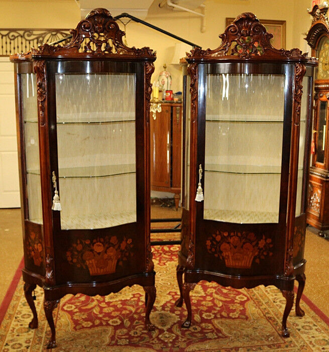 Gorgeous Matching Pair of Mahogany Italian Inlaid Curio Cabinets Fabric Back