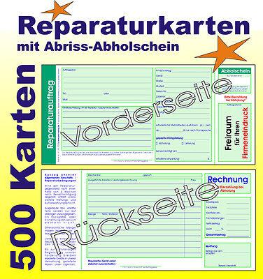 Reparatur-Auftragskarten mit Rechnung und Abriss-Abholschein