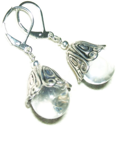 POOLS Of LIGHT Earrings Rock Crystal Quartz Orbs SILVER Plated Drops Leverback