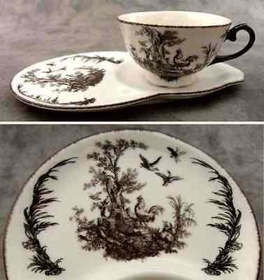Hellish & WHITE Aux Au Provence FRENCH COUNTRY TOILE TEA AND TOAST SET ~Cup/Plate~