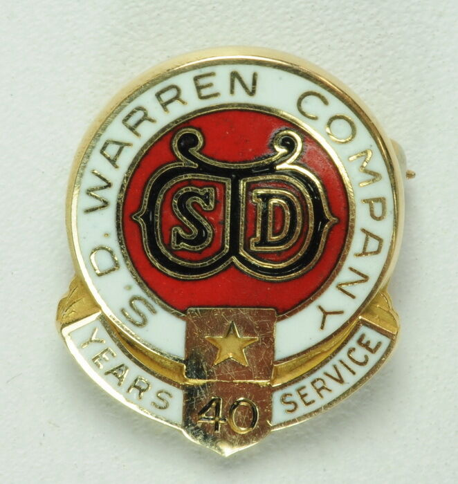 ORIGINAL ANTIQUE S.D. WARREN COMPANY 40 YEAR SERVICE PIN 14K YELLOW GOLD PIN