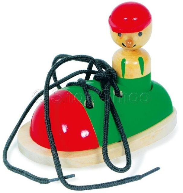 Wooden Threading Shoe Learn to Tie Laces - Childrens Educational Learning Toy