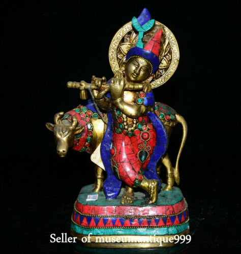 """10.4"""" Old Tibet Bronze Turquoise Red Coral Cattle Bull Protector Deity Statue"""