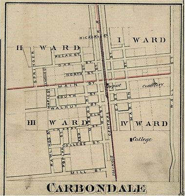 Carbondale Illinois Jackson Co IL 1876  Map Genealogy