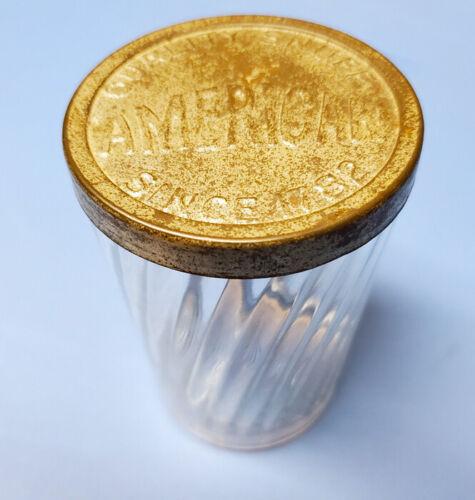 Vintage HELME Ribbed Snuff Glass Jar With AMERICAN Snuff Metal Lid On It