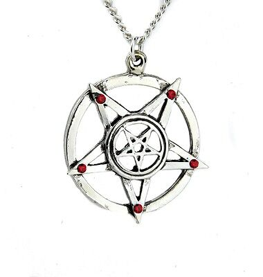 (Inverted Pentagram Necklace w Red Stone Evil Occult Ritual Black Metal Goth Doom)