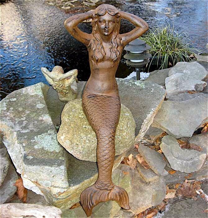 "35"" Sitting Sunning Mermaid Statue  Iron Rust Finish"