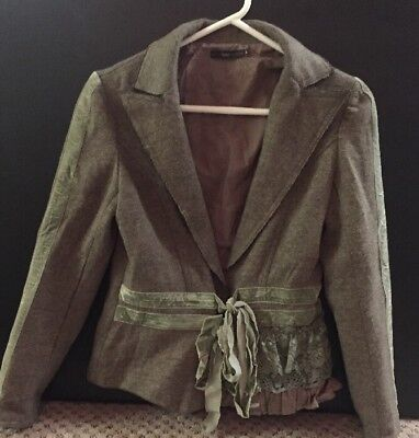 Hazel Hazel Hazel -  Brown Knit Blazer With Green Velvet Trim Children's SZ L - Kids Green Blazer