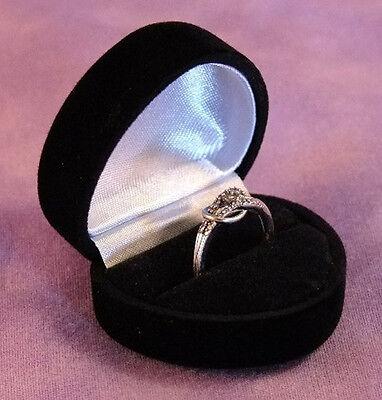 Flocked Velour Ring Gift Boxes Lot Of 12 Black